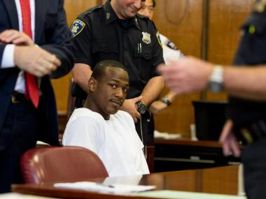 Ricardo Laing, 24, of White Plains appears in Manhattan Supreme Court on August 23rd, 2012.