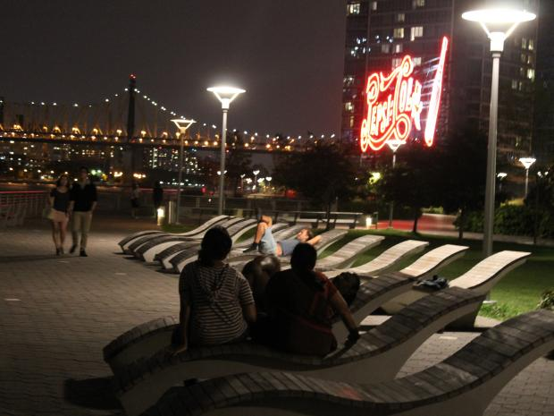 In the evenings, the park on the Hunters Point waterfront is full of cuddling couples.