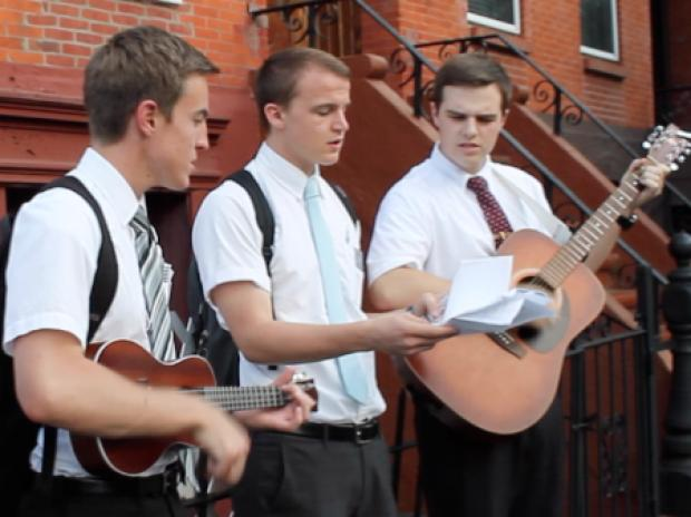 The Mormon missionaries have started street performances, info sessions, and handing out fliers on the strip this summer.