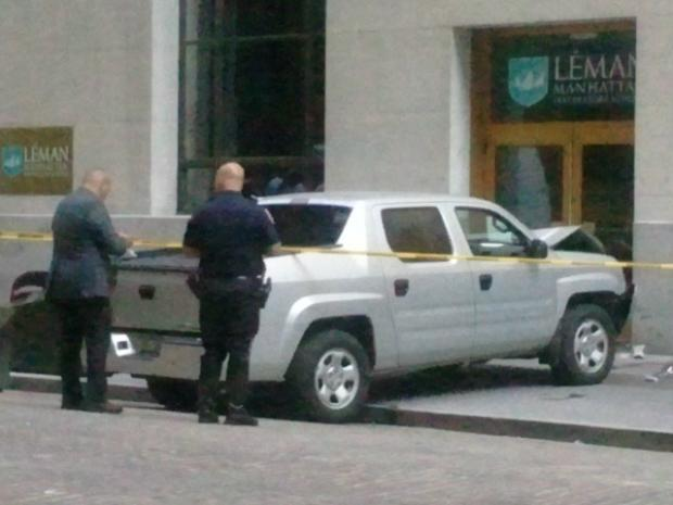 Sorel Deps-Medina, 70, was killed when a NYSE security pickup jumped the curb on Broad Street.