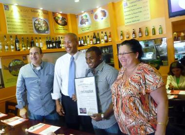 Olympic gymnast John Orozco, with parents Damaris and William, was honored by Bronx Borough President Ruben Diaz, Jr., on August 23, 2012.