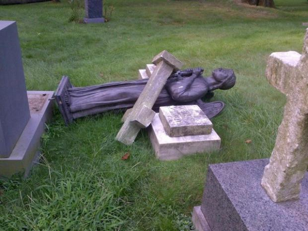 Vandals wrecked 43 monuments and grave markers at Green-Wood Cemetery, causing more than $100,000 in damage to the historic resting place.