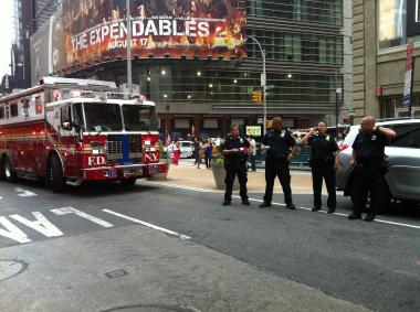 Firefighters evacuated seven floors of Times Square Tower on Friday, Aug. 24, because of a smoke condition