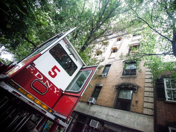 A fire breaks out at 20 Commerce St. in the West Village on August 25th, 2012.