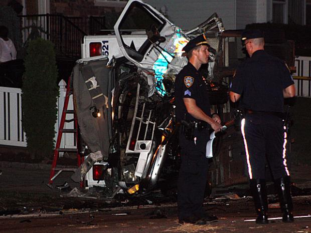 Two people were killed, inculding 9/11 first reponder David Restuccio, 58, when a car crashed into the ambulance Restuccio was driving on Staten Island, Aug. 27, 2012.