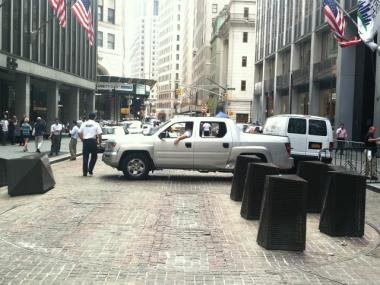 Whenever the turntable security checkpoints on Broad Street are broken, T&M Protection Resources uses pickup trucks to block the street instead.