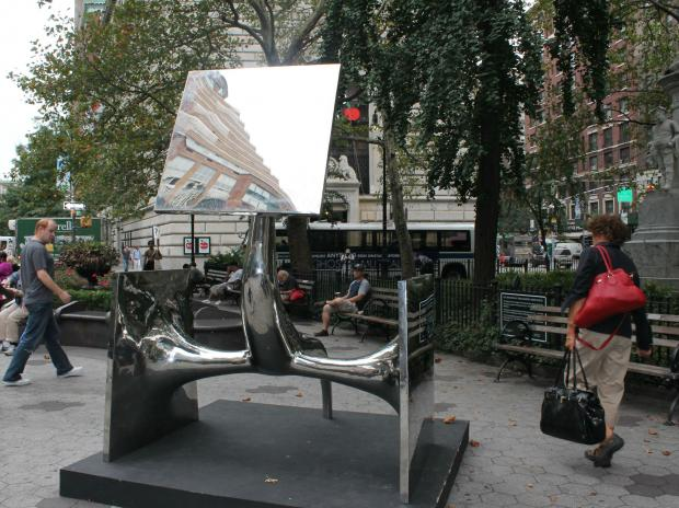 A series of puzzling surrealist public sculptures without identification have popped up along Broadway.