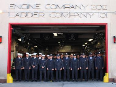 Current and retired firefighters and family members gathered at the Engine 202/Ladder 101 stationhouse in Red Hook Tuesday morning to memorialize the seven Ladder 101 firefighters who died in the terrorist attacks of Sept. 11, 2001.