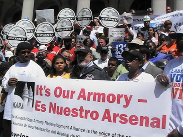 Members of the Kingsbridge Armory Redevelopment Alliance will gather outside the armory on September 12, 2012 to remind developers of their demands for the site.