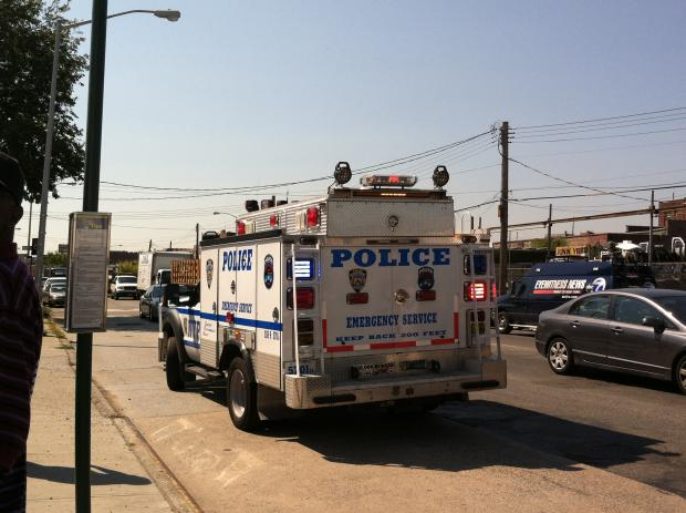 The off-duty police officer was stabbed at 103-12 170th in Jamaica shortly after noon, officials said.