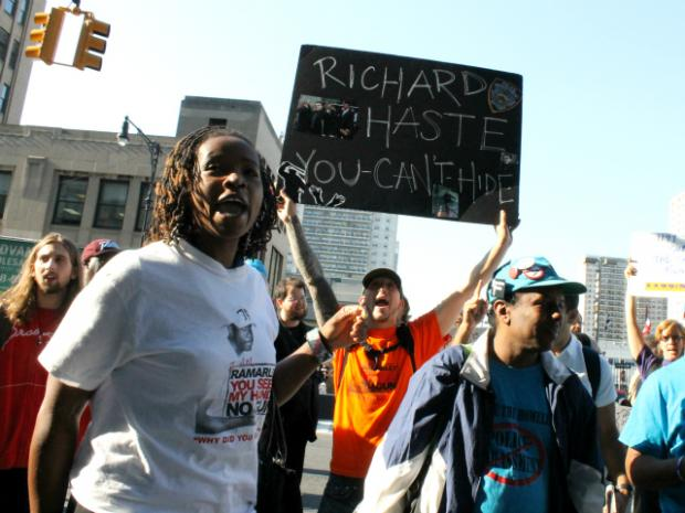 Supporters of Ramarley Graham held a rally outside a hearing for the police officer who shot him, Richard Haste.