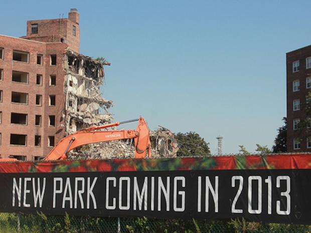 Demolition of a seven story high rise on Governors Island began Thursday, Sept. 13, 2012. It is the first of four buildings that will be demolished on the island over the next several months.