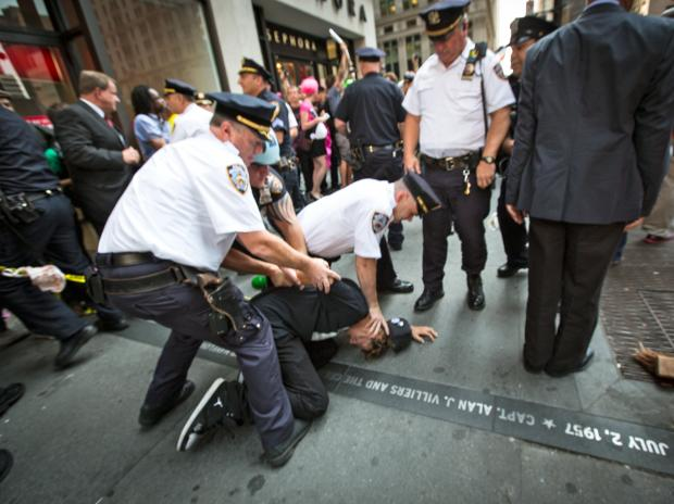 Demonstrators came out early to mark the first anniversary of the Occupy Wall Street movement on Sept. 17, 2012.