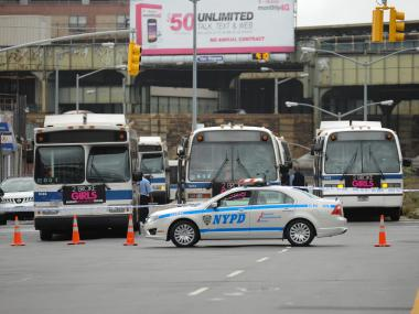 An MTA bus operator on his way to work at the East New York depot was struck and critically injured when he was struck by a car early on Sept. 18, 2012.