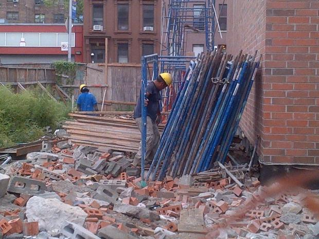 A construction worker was seriously injured Tuesday when he fell from a site in Harlem.