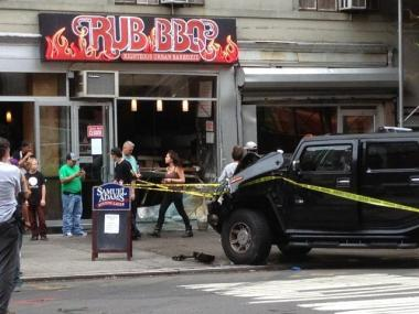 The Hummer crashed into Rub BBQ on West 23rd Street in Chelsea.