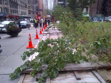 A fence blew over at Madison Avenue and East 33rd Street.