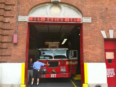 A smoke bomb dropped off at the firehouse at 1361 Rockaway Parkway in Brooklyn caused a scare on Sept. 20, 2012.