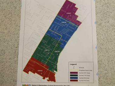 Department of Education officials presented a preliminary rezoning plan on Wednesday, Sept. 20, 2012, that shrinks several existing school zones and creates a new one to serve P.S. 281, which is scheduled to open in fall of 2013. The proposed zones are indicated by the yellow dotted lines.