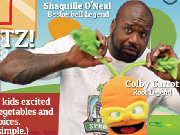Shquille O'Neal will join gigantic vegetable superhero characters, the Super Sproutz, at Century 21 for a performance to benefit the New York City Food Bank.