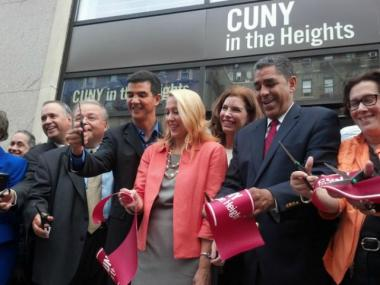 Officials including City Councilman Ydanis Rodriguez and State Sen. Adriano Espaillat cut a ribbon Sept. 22, 2012 to open a new campus for CUNY in the Heights at 5030 Broadway.