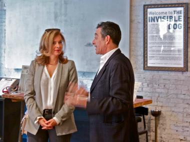 The First Lady of France Valerie Trierweiler took a private tour of the Invisible Dog Arts Center.