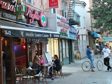 Restaurants and shops on Astoria's Steinway Street.
