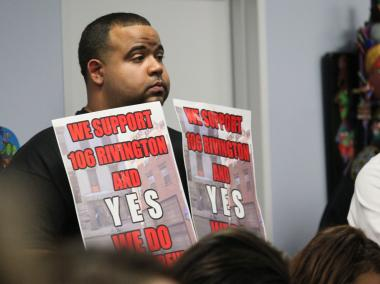 A supporter at an earlier meeting in October 2012, in which the resturant known 106 Rivington had its liquor license approved by Community Board 3. The State Liquor Authority later denied its liquor license in the face of staunch oppositon from nearby residents.