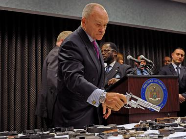 Police Comissioner Ray Kelly and Brooklyn District Attorney Charles Hynes announce in downtown Brooklyn the arrest of 11 people invovled in selling 154 weapons, Oct. 18, 2012.