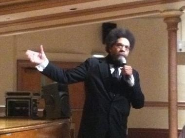 Cornel West speaks about education to Harlem community members at Wadleigh Secondary School of Performing Arts