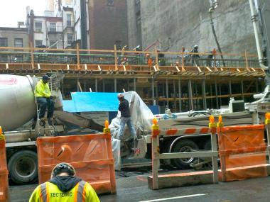 A worker fell about 20 feet at an East 33rd Street construction site on Oct. 9, 2012.