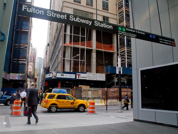 The new entrance to the Fulton Street subway station at the corner of Dey Street and Broadway will provide another point of entry for 4 and 5 train passengers.