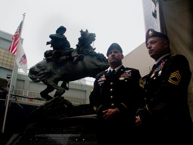 Members of The Green Beret Foundation, The United War Veterans Council and The Port Authority of New York and New Jersey gathered Oct. 19, 2012, to celebrate the rededication of the statue at its new home in front of the PATH station at Vesey Street and West Broadway.