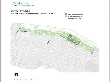 A map of the proposed boundaries of the Hudson River Park Neighborhood Improvement District.