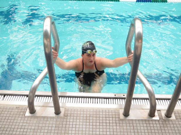 Swimmer Johannah Coffey had to re-learn how to breathe.