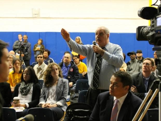 The two would-be developers pitched their plans to the public Thursday, October 11, 2102, and answered sharp questions.