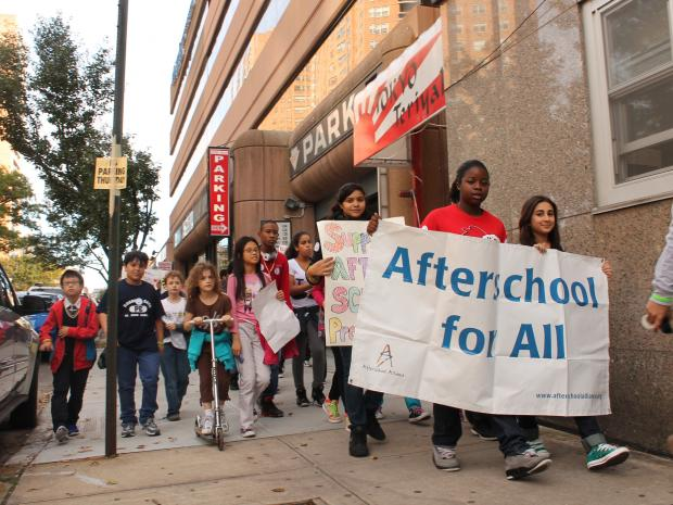 Politicians join school children at third annual 'Lights on After School' rally.