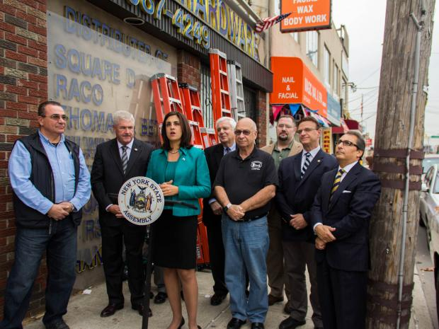 Assemblywoman Nicole Malliotakis and Minority Leader Brian Kolb held a press conference outside of Hylan Hardware, Grant City, and said they will focus on cutting taxes and fees for small businesses next legislative term.