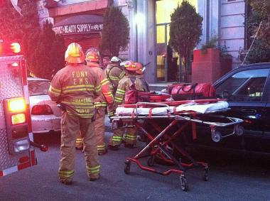 A second-floor bathroom at 555 W. 151st St. collapsed into the first floor, the FDNY said.