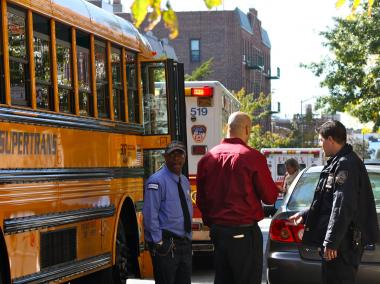A school bus was rear-ended by an SUV in Astoria, Queens, on Oct. 16, 2012.