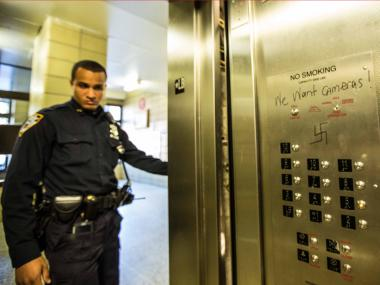 Cops are investigating the discovery of a swastika in an elevator in a Williamsburg building on Oct. 23, 2012, as a hate crime.