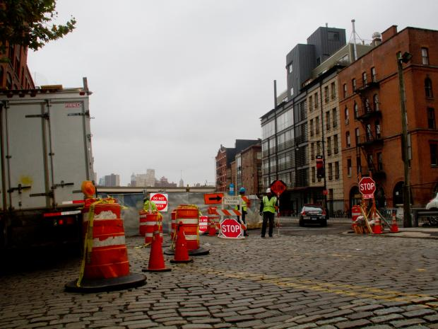Water Street between Dover Street and Peck Slip will be closed for the next six months due to construciton.