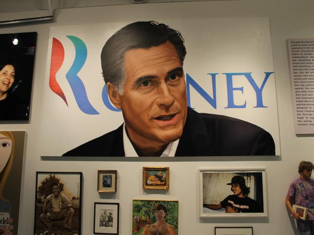 We the People  has a huge portrait of Mitt Romney in the Rauschenberg Project Space.