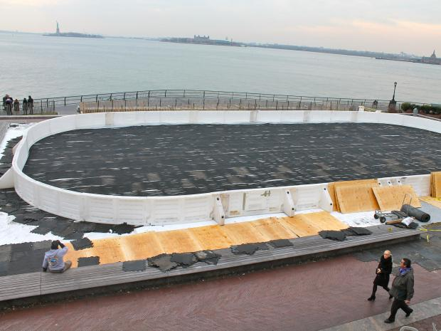The Battery Park City Authority is opening the 60-by-120-foot Liberty View Ice Rink — the same size, staff says, as Rockefeller Center's — in Wagner Park next week.