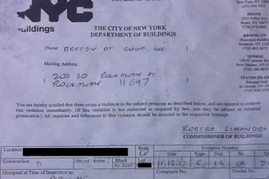A November summons issued on a destroyed Breezy Point home by Queens inspectors for the Department of Buildings.