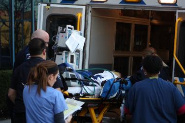 A child was injured when a minivan slammed into a car being driven by a driving instructor in Woodhaven, Queens, Nov. 26, 2012.