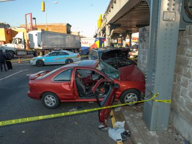 The man died after the car he was driving slammed into a wall at Ralph and Atlantic avenues in Brooklyn.