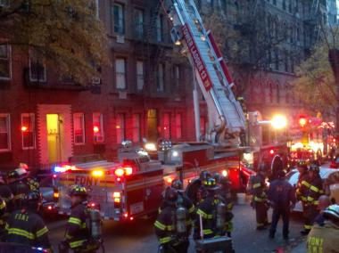 More 100 firefighters responded to a blaze that broke out an Upper East Side apartment building Monday, Nov. 19, 2012.