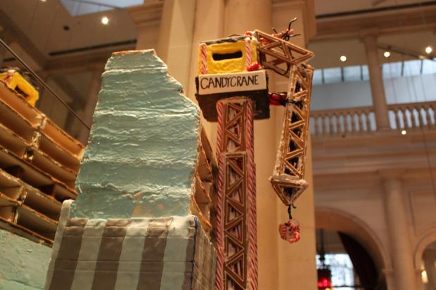 Chefs at Le Parker Meridien hotel built a gingerbread model of the crane knocked down by Hurricane Sandy.
