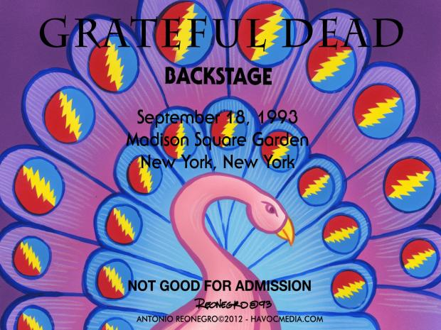 Staten Island artist Antonio Reonegro's exhibit of his backstage passes and T-shirts he designed for the Grateful Dead.
